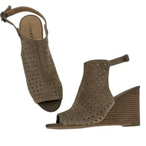 Lucky Brand- Rigina Open Toe Perf Suede Wedge